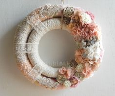 Beautiful lace and chic style double wrapped wreath by Wreaths By Emma Ruth