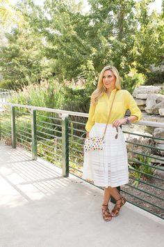 The Yellow Rose of Texas: yellow buttondown blouse, white shadowstripe midi, rainbow dot crossbody