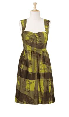 Cool vintage-look print silk dress. Overstocked at eshakti. The olive and pale gold work really well with my skin and hair. Plus-size.