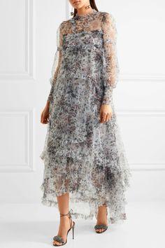 Erdem | Stacey трепал платье тюль цветочно-печать | NET-A-PORTER.COM