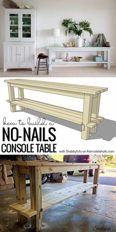 This smart no-nails console table is easy to build, and easy to disassemble for easy moving and transportation. The layered milk paint finish makes it perfect! Building Furniture, Diy Furniture Projects, Repurposed Furniture, Pallet Furniture, Furniture Plans, Furniture Makeover, Home Projects, Cool Furniture, Furniture Buyers