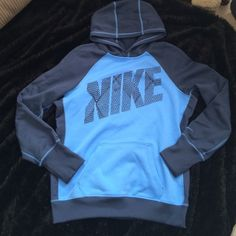 blue therma-fit pullover hoodie  Nike blue therma-fit pullover hoodie. Great condition! All fleece in the inside. Super comfy Nike Tops Sweatshirts & Hoodies