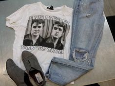 Rock some #vintagevibes with a cool #Elvis t-shirt & distressed jeans from #PlatosClosetBrampton – Don't forget a groovy pair of blue suede shoes! #retro | www.platosclosetbrampton.com