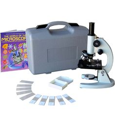 M60C-ABS-PB10-WM: 40x-1000x Student Metal Compound Microscope with ABS Case, 10pc Slides & Book