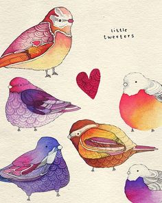 """Little Tweeters"" by Kate Wilson. Watercolor. http://www.coroflot.com/kwilson544/Little-Birds"