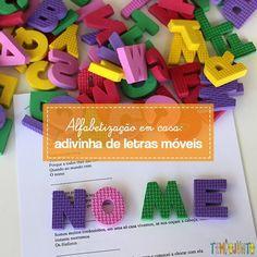 Ideias para usar letras móveis em brincadeiras para ensinar a ler e escrever. Entenda o papel dos pais no processo se alfabetização. Logos, Kids Learning, Teaching, Kids Playing, Learning, Writing, M Letter, A Logo