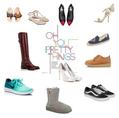 """Variety in Shoebox"" by chloe1013 ❤ liked on Polyvore featuring Vans, UGG, Ancient Greek Sandals, Love Moschino, NIKE, Elina Linardaki, Soludos and Miu Miu"