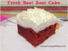 Fresh Beet Root Cake - So moist and intense in taste and color. Topped with whipped cream of coconut!
