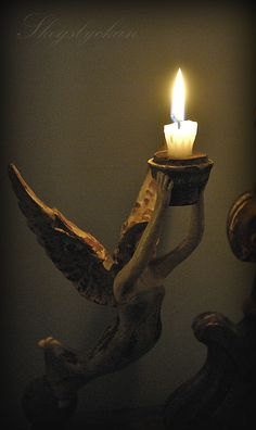 Angel of light I Believe In Angels, Candle In The Wind, Candle Magic, Candle Lanterns, Chandeliers, Candlesticks, Statues, Light Up, Birthday Candles