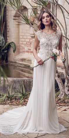 anna campbell 2019 bridal cap sleeves v neck heavily embellished bodice  pleated skirt glitzy romantic column b966bda2c469