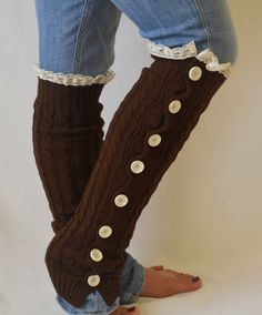 Leg warmers slouchy open button down lace leg warmers by bstyle, $34.00