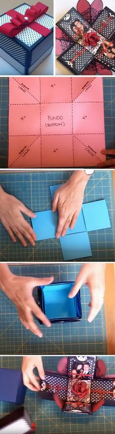 DIY Explosion Gift Box. Explosion gift boxes are the latest trend in do-it-yourself gifts. It is so novel and entertaining when you take the box top off and get it explode open. It makes great gifts for just about any occasion when packaged with a small gift, money, photos or a gift card.