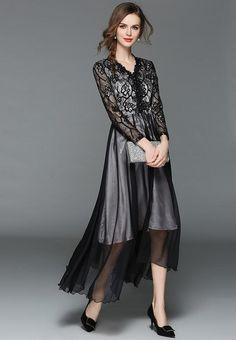 V Neck Long Sleeve Lace Maxi Black Dress Lace Maxi, Lace Dress, Types Of Dresses, Lace Design, V Neck Dress, Casual Dresses, Long Sleeve, Collection, Black
