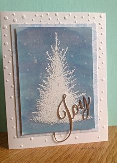 Joy card using Penny Black Tree stamp and sentiment die