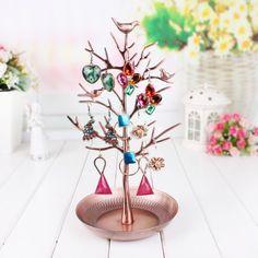Luxusný stojan na šperky v tvare kovového stromu - medený