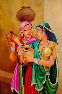 If you are already intrigued by this form of art and wish to dig deeper into it, then there is good news for you- here we have some examples of Brilliant Traditional Indian Art Paintings for you. Rajasthani Painting, Rajasthani Art, Indian Women Painting, Indian Art Paintings, Indian Traditional Paintings, Composition Painting, Art Village, Indian Folk Art, India Art