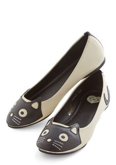 Up Your Alley Cat Flat in Ivory - Cream, Black, Solid, Novelty Print, Casual, Kawaii, Quirky, Cats, Better, Flat, Faux Leather