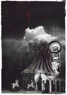 Sebastian Holmer: Cirque du Noir, in Sebastian Holmer's personal work (published) Comic Art Gallery Room Dark Circus, Circus Art, Circus Theme, Clowns, Spectacle Theatre, Art Du Cirque, Circus Performers, Night Circus, Big Top