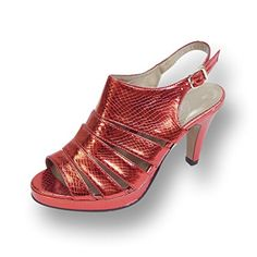 c984852061f FIC FLORAL Jules Women Extra Wide Width Metallic Snake Print Slingback RED  95   See this
