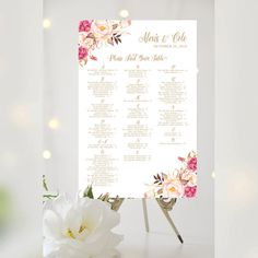 #Weddings #seating #chart #printable #signs #template #affordable #floral #decorative