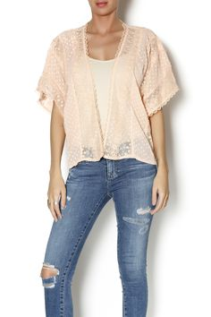 Delicate cover up with just the right amount of detail in the lace to make it special   Lacey Coverup by Flying Tomato. Clothing - Tops - Casual Clothing - Jackets, Coats & Blazers - Kimonos & Wraps Clothing - Tops - Short Sleeve New York
