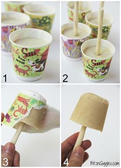 Banana Pup Pops - A creamy, homemade popsicle that your dog will love! Delicious and good for them too!