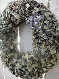 Dried Hydrangea Wreath   Hydrangea Wreath In Blue by donnahubbard, $45.00
