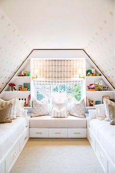 Great girl's room with window bench.