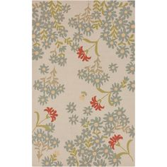 Paule Marrot Cannes Hand-hooked Indoor/Outdoor Ivory Floral Rug (8' x 10') | Overstock.com Shopping - Great Deals on Surya 7x9 - 10x14 Rugs