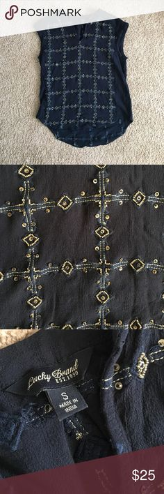 Lucky Brand Beaded Shirt Dark blue beaded shirt. Only worn once. In excellent condition. No flaws. This shirt is kinda heavy because of all the beads. Perfect with jeans and a cardigan. NO TRADES Lucky Brand Tops