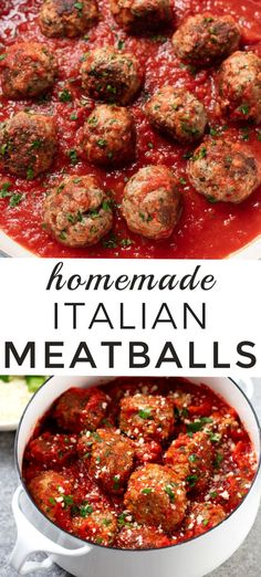 Easy homemade Italian meatballs with beef and pork a classic family recipe. - Easy homemade Italian meatballs with beef and pork a classic family recipe. Authentic Italian Meatballs, Homemade Italian Meatballs, Homemade Marinara, Simple Italian Meatball Recipe, Homemade Sauce, Beef Recipes, Cooking Recipes, Healthy Recipes, Homemade Meatball Recipes