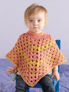 Free Crochet Pattern: Seashell Poncho  Lion Brand® Tweed Stripes®  Pattern #: L0688