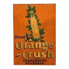 "Embossed Tin Sign "" Orange Crush "" For Sale Vintage Coffee Signs, Vintage Tin Signs, Antique Signs, Vintage Tins, Crush Signs, Orange Aesthetic, Neon Aesthetic, Aesthetic Pics, Porcelain Signs"
