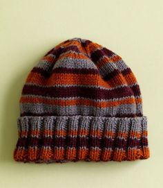Free Knitting Pattern L0514 House Colors Hat : Lion Brand Yarn Company- i have made this many times with left over scraps... good way to use up yarn