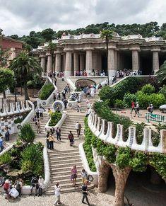 Steps in Park Guell, Barcelona - Spain, Antoni Gaudi