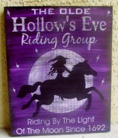 Primitive Witch Sign Horses Halloween Fantasy Purple Witchcraft Wiccan