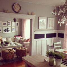 Notice what a touch of black does for the room - - - Hardwood floors and white trim. Home sweet Home!