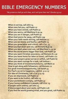 Bible Emergency Verses...
