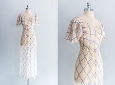 1930s Sheer Chiffon Blue Stripes Wedding Dress by ShopGossamer, $237.00