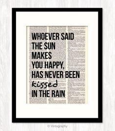 KISSED IN THE RAIN Dictionary Art Print