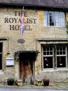 """The Royalist Hotel, Stow on the Wold, Gloucestershire, UK - Said to date back as far as 947 AD, The Royalist has many curious features befitting such an ancient building: """"witch marks"""" above the fireplace to ward off evil spirits, a medieval frieze, and even a leper pit in the oldest part of the cellars. The name itself is linked to the English Civil War when the building was used as headquarters of the Royalist army prior to the Battle of Stow in 1646 - a battle they would lose at great…"""