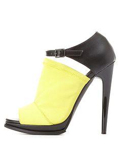 Qupid Stretchy Color Block Peep Toe Heels: Charlotte Russe