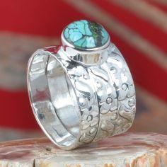 NEW DESIGNER SOLID 925 STERLING SILVER TURQUOISE RING 6.08g DJR11301 SZ-7 #Handmade #Ring