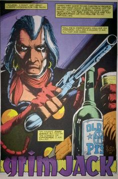 Grimjack #1, intro splash panel. Tim Truman art. Truman's gritty art perfectly defined the rough, dark world of Cynosure. Grimjack was one of the best comics to come out of the First Comics line-up back in the 1980s.
