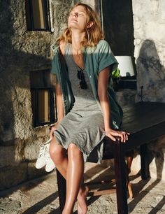 """The Summer """"Yes"""" List - Look 02. Hilltop Jacket worn with Chillstripe Tank Dress + Puma Sneakers 
