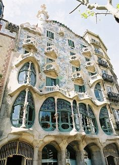Facade detail of Casa Milà, better known as La Pedrera ('The Quarry'), Barcelona--Catalan/Spanish Art Nouveau designed by Antoni Gaudi.