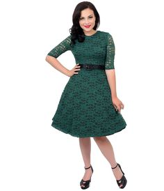 Voodoo Vixen 1950s Style Hunter Green Floral Lace Three-Quarter Sleeve Patricia Swing Dress