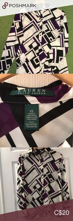 Shop Women's Lauren Ralph Lauren size XS Blouses at a discounted price at Poshmark. Description: Geometric Ralph Lauren button-up shirt. Worn once, true to size. Plus Fashion, Fashion Tips, Fashion Trends, Ralph Lauren Tops, Button Up Shirts, Blouses, Outfits, Collection, Things To Sell