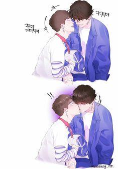 Jikook fanart Fanart Kpop, Smut Fanart, Jimin Fanart, Vkook Fanart, Jimin Jungkook, Bts Bangtan Boy, Jung Kook, Bts Kiss, Kpop Drawings