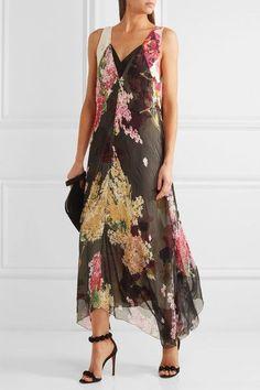 Lanvin - Floral-print Silk-chiffon And Crepe De Chine Gown - Black - FR40